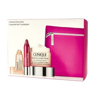 Clinique Gift Set 50ml Moisture Surge Intense Fortifying Hydrator + 5ml All About Eyes Serum De-Puffing Eye Massage + 1.2g Chubby Stick Intense Moisturising Lip Colour Balm