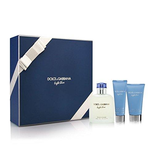 Dolce Gabbana Light Blue Gift Set 125ml EDT Spray 75ml Aftershave Balm 50ml Shower Gel