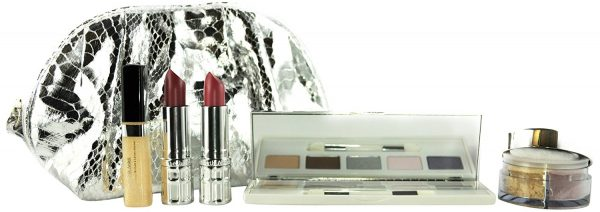 Elizabeth Arden Beautiful Color Gift Set 5 x Eyeshadows Shimmer Powder 2 x Lipstick Lip Gloss Silver Makeup Bag