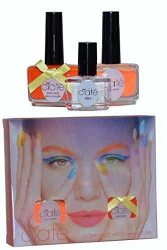 Ciaté Corrupted Neon Manicure Club Tropicana Gift Set 13.5ml Nail Polish in Cha Cha Cha 10g Club Tropicana Neon Glitter 5ml Black Light Top Coat