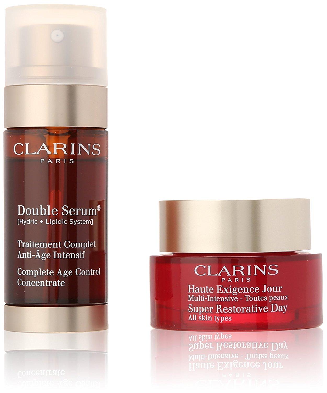 clarins replenishing experts gift set 50ml super restorative day cream 30ml double serum age. Black Bedroom Furniture Sets. Home Design Ideas
