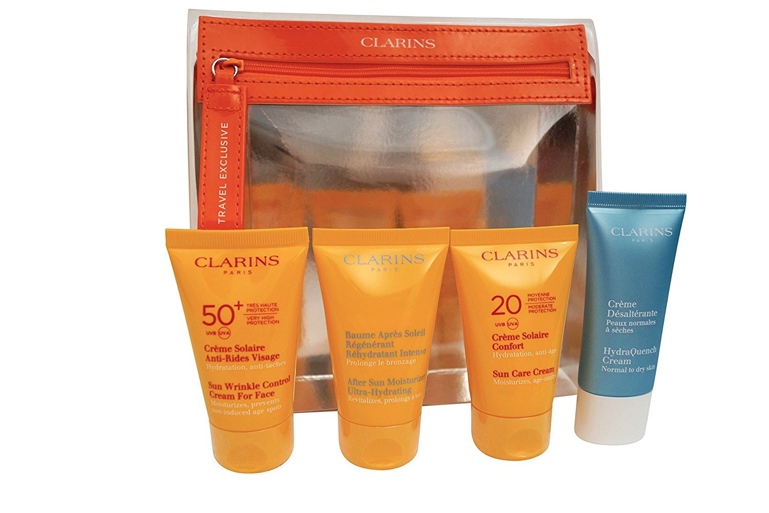 Clarins Sun Protection Essentials Gift Set 75ml Sun Wrinkle Control Cream  UVB30 + 150ml Sun Care Oil Spray UVB30 + 200ml After Sun Ultra Hydrating ... a2c2b8827c