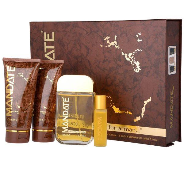 Eden Classic Mandate Gift Set 100ml EDT Spray 15ml EDT Spray Mini 150ml Aftershave Balm 150ml Bath Shower Gel