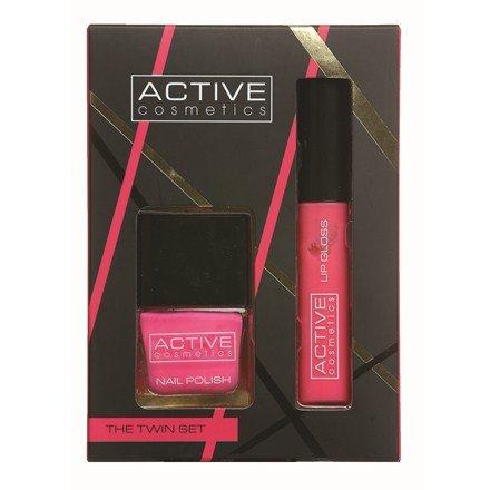 Active Cosmetics The Twin Set Pink Nail Polish Pink Lip Gloss