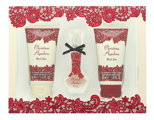 Christina Aguilera Red Sin Gift Set 15ml EDP 50ml Body Lotion 50ml Shower Gel