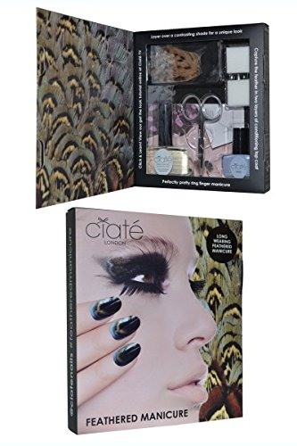 Ciate Feathered Manicure Ruffle My Feathers Gift Set 5ml Chincilla Nail Polish 13ml Speed Coat Pro Scissors Nail File Block Genuine Feathers