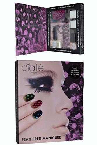 Ciate Feathered Manicure What A Hoot Gift Set 13.5ml Fast Dry Top Coat Speed Coat Pro 014 5ml Mini Nail Polish – Snow Virgin 001 Scissors Nail File Block Feathers