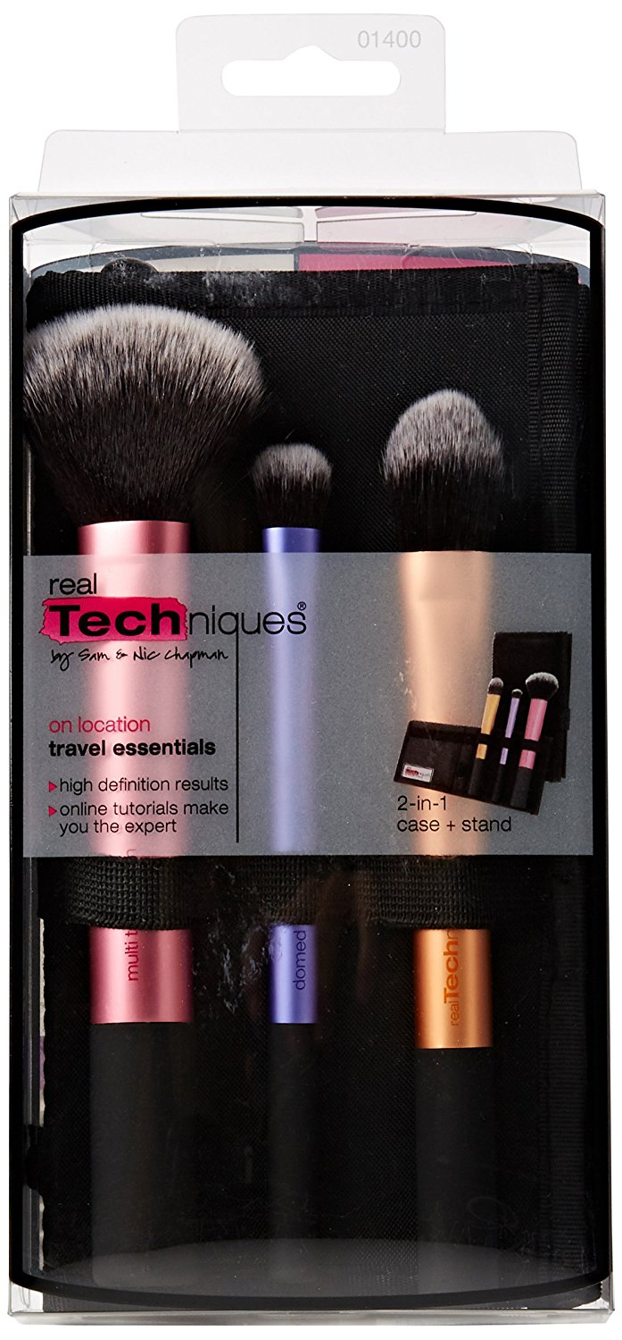 Real Techniques Travel Essentials Gift Set 3 x Brushes Case
