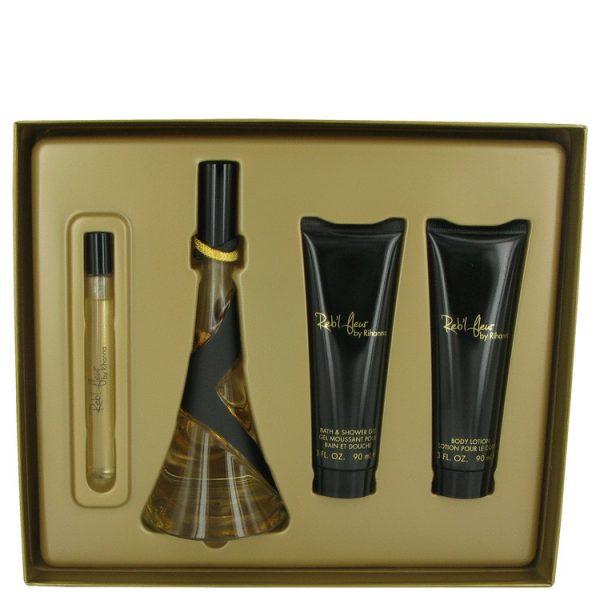 Rihanna Reb'l Fleur Gift Set 100ml EDP 90ml Body Lotion 90ml Shower Gel 10ml Roll On