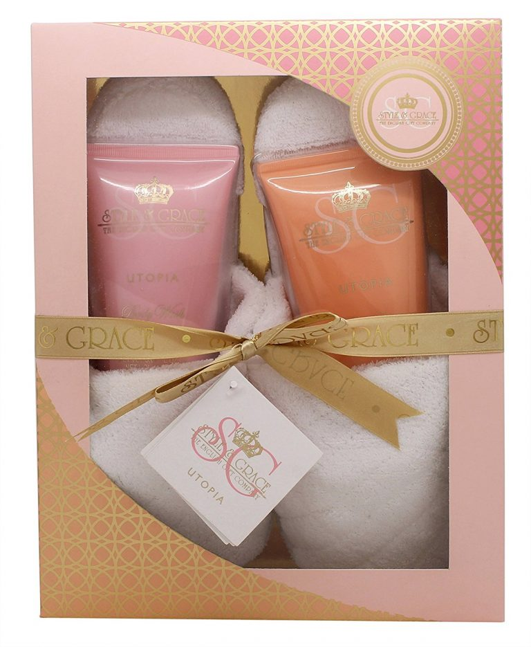 Style Grace Utopia Indulgent Gift Set 150ml Body Lotion 150ml Body Wash Slippers