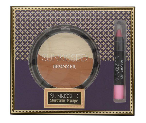 Sunkissed Moroccan Bronze Spice Gift Set 16g Bronzing Powder 3.3g Lip Crayon