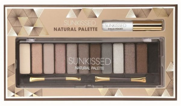 Sunkissed Natural Palette 12 x Eyeshadow Eyelid Primer 2 x Double Ended Applicator