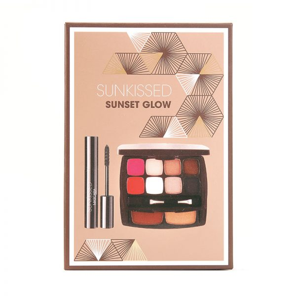 Sunkissed Sunset Glow Gift Set 6 x 1.3g Eyeshadows 2 x 0.8g Lip Balms 3.8g Bronzing Powder 3.8g Highlighter 5.5ml Mascara Black Applicator