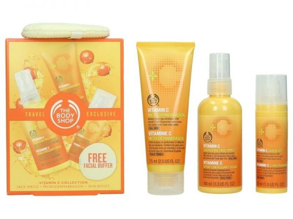 The Body Shop Vitamin C Travel Exclusive Gift Set 100ml Energizing Face Spritz 75ml Microdermabrasion 30ml Skin Boost Facial Buffer