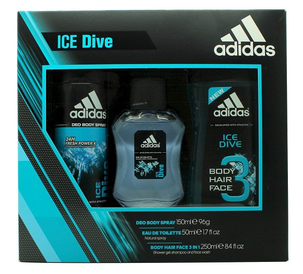Adidas Ice Dive Gift Set 50ml EDT 250ml Shower Gel 150ml Deodorant Body Spray