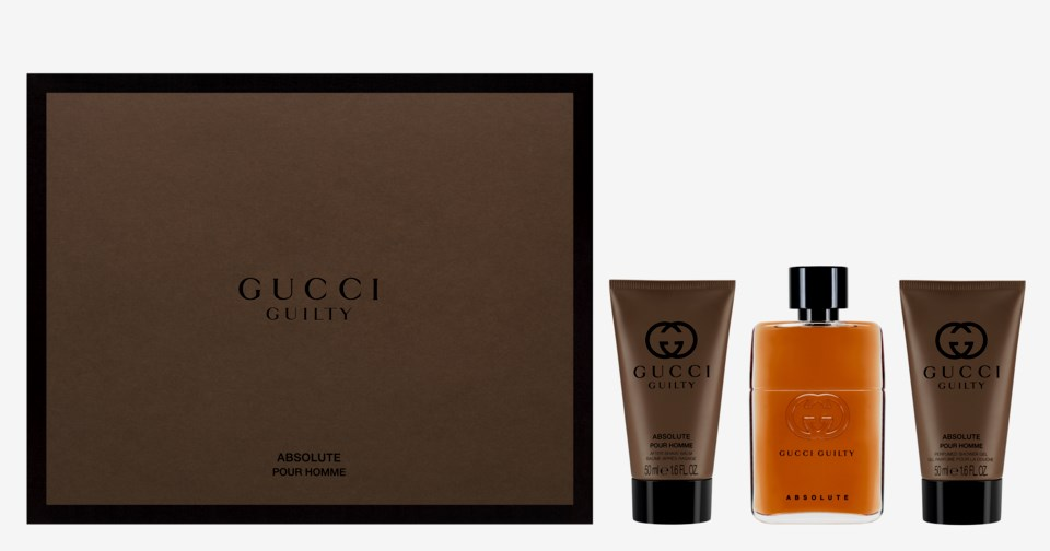c3a634f58 Gucci Guilty Absolute Gift Set 90ml EDP + 50ml Aftershave Balm + 150ml  Shower Gel. £50.78. Out of stock. Gucci Guilty Absolute ...