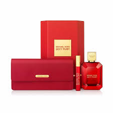 Michael Kors Sexy Ruby Gift Set 100ml EDP 10ml Rollerball EDP Clutch Bag