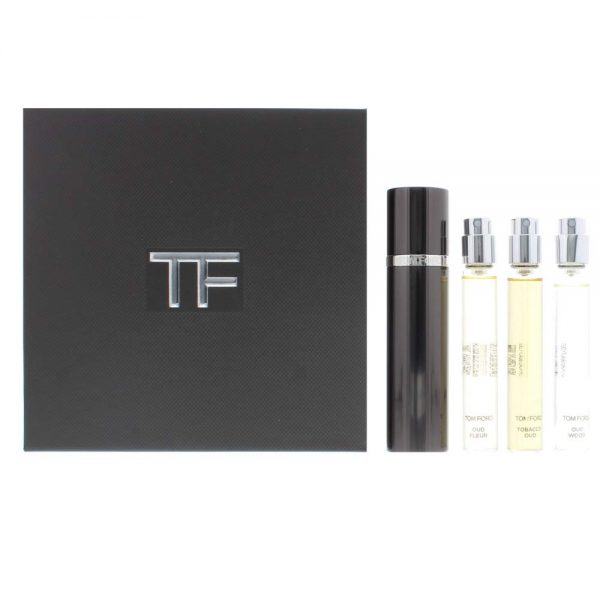 Tom Ford Private Blend Oud Wood Collection Travel Gift Set 10ml Oud Wood EDP 10ml Oud Fleur EDP 10ml Tobacco Oud EDP Refillable Atomizer