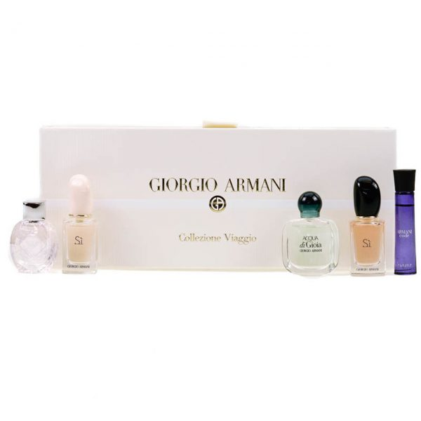 Giorgio Armani Miniature Gift Set for Her 3ml Code Femme EDP 5ml Emporio Diamonds Rose EDP 5ml Acqu di Gioia EDP 7ml Armani Si EDP 7ml Armani Si EDT