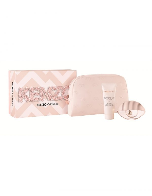 Kenzo World Gift Set 75ml EDT 75ml Body Lotion Pouch Pink Edition