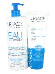 Uriage Eau Thermale Gift Set 500ml Cleansing Cream 200ml Silky Body Lotion