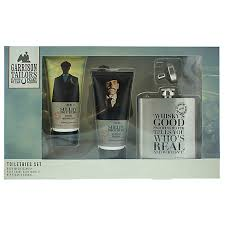 Garrison Tailors Peaky Blinders Shelby Brothers Gift Set 100ml Soothing Post Shave Balm 100ml Body Wash Hip Flask
