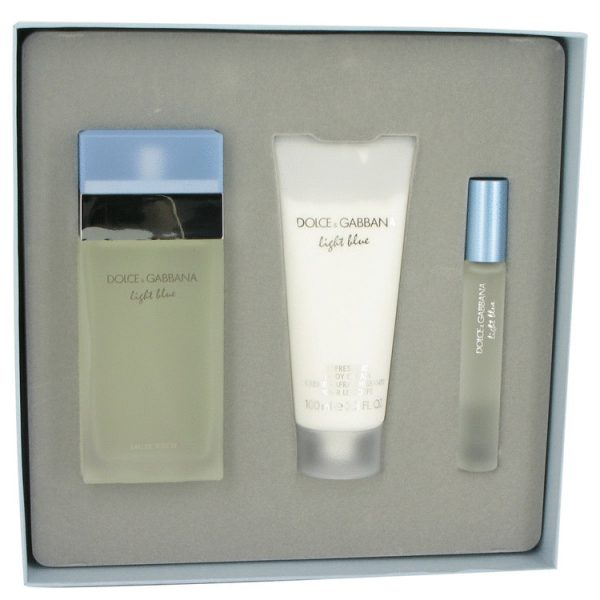 olce Gabbana Light Blue Gift Set 100ml EDT 75ml Body Cream 10ml EDT