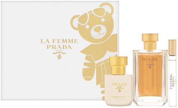 Prada La Femme LEau Gift Set EDT 100ml Spray Body Lotion 100ml EDT Roll On 10ml