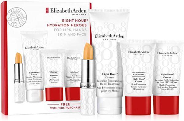 Elizabeth Arden Eight Hour Hydration Heroes Gift Set 75ml Hand Treatment 15ml Daily Moisturiser 15ml Skin Protectant 3.7g Lip Primer