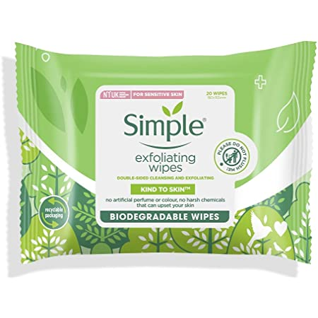 Simple Kind to Skin Exfoliating Facial Wipes – 20 Wipes