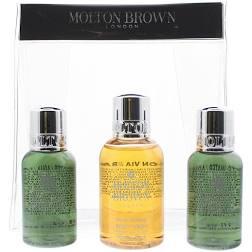 Molton Brown Gift Set 50ml Suma Ginseng Body Wash 2 x 30ml Fabled Juniper Berries Lapp Pine Body Wash